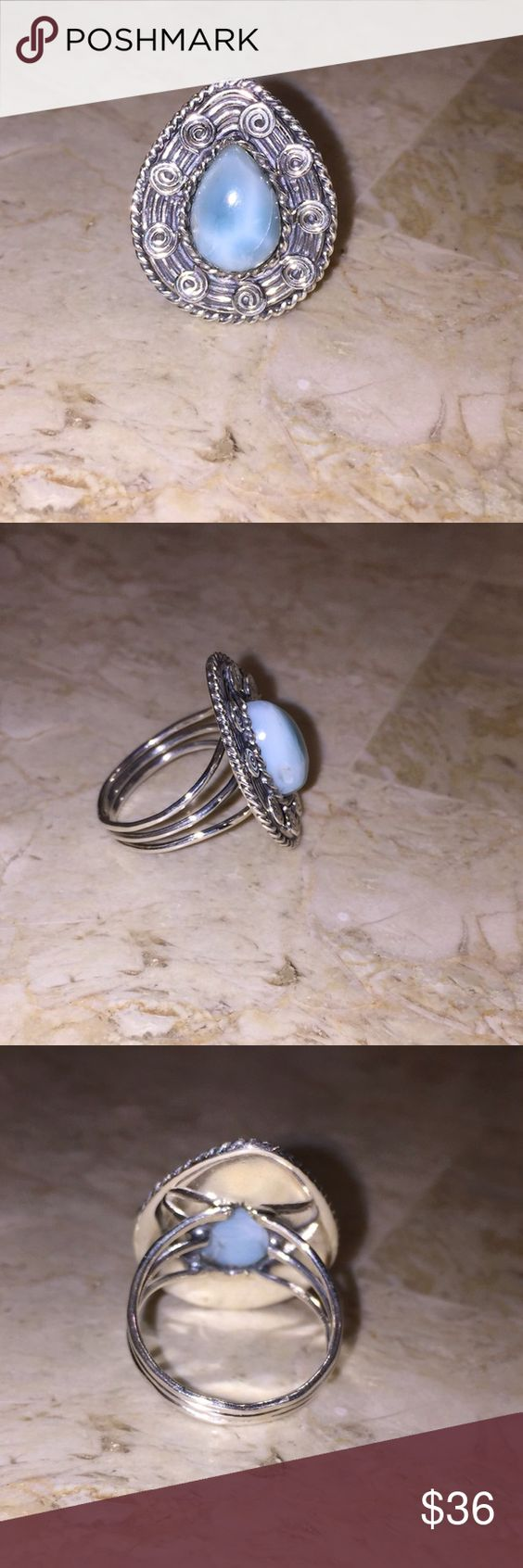 Sterling Silver Larimar Ring Sz 8.75 Beautiful new handcrafted Sterling silver natural Larimar ring. Size 8.75 Larimar is found in only location in the world. Sterling Silver Jewelry Rings