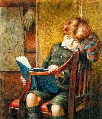 """Niño leyendo"", Charles James Adams (1859-1931) imatge: Google"