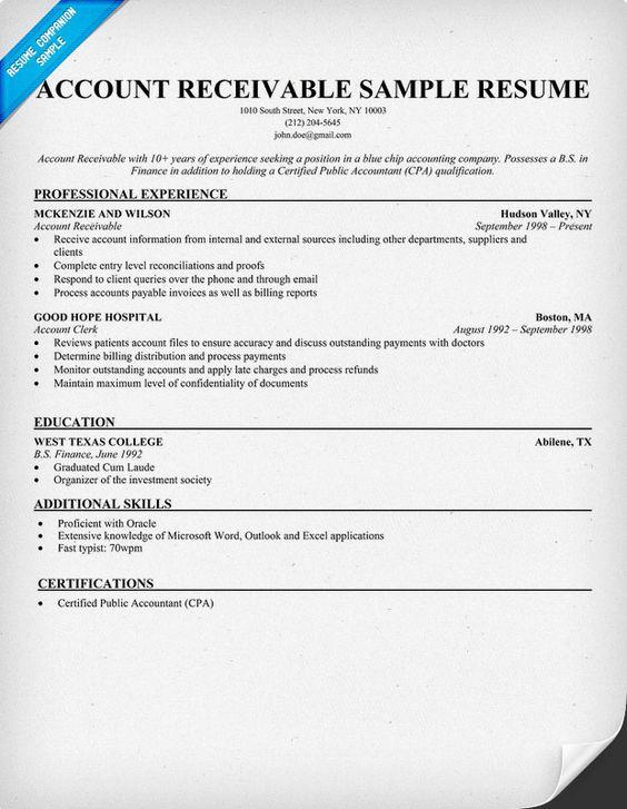 Account Receivable Resume Sample Resume Samples Across All - tax preparer resume