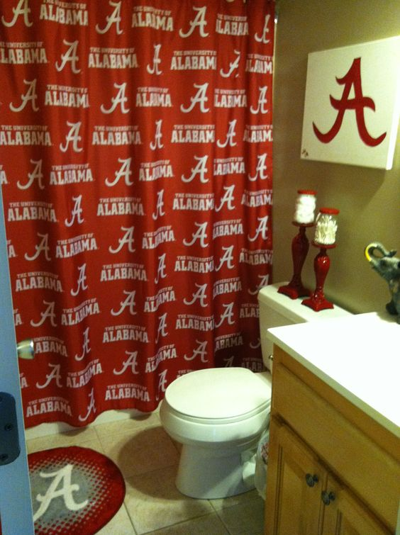 Alabama bathroom for football season! Roll Tide! | Man Caves ...