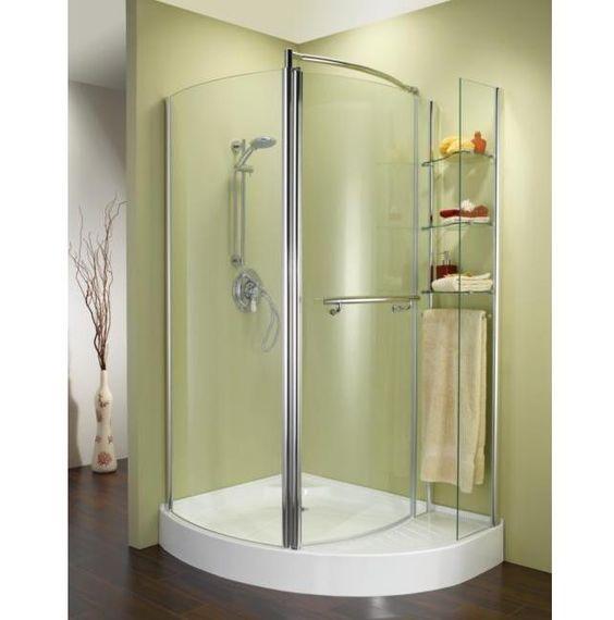 Shower Enclosures Corner 42 Fleurco Turin Corner Shower Enclosure With Integral Shelving System Bathroom Shower Stalls Shower Stall Bathroom Shower Design