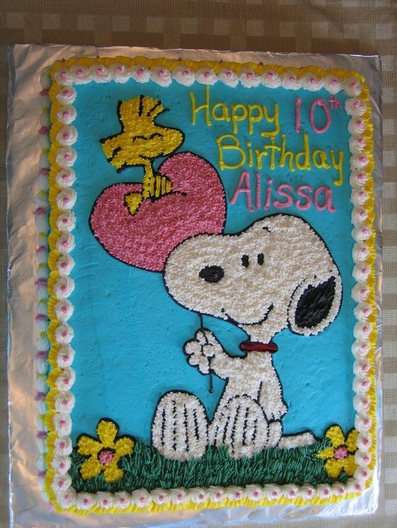 Snoopy And Woodstock Birthday Sheet Cake Yummy Stuff