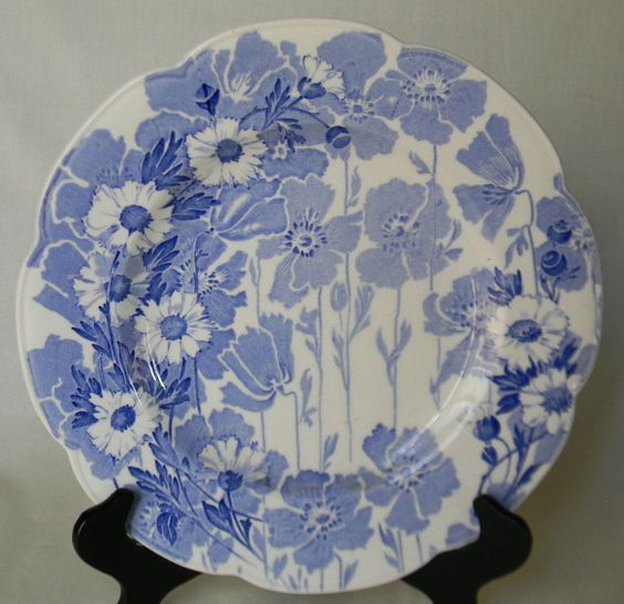 Blue Toile English Transferware Scalloped Plate Woods Daisies Floral Blue and White English China