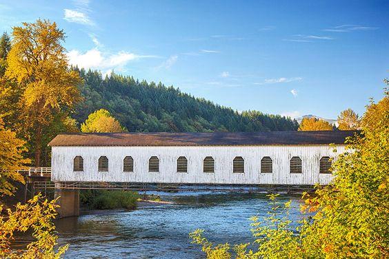 Goodpasture Covered Bridge near Vida, OR ©Danita Delimont/Alamy Visit America's Most Picturesque Covered Bridges