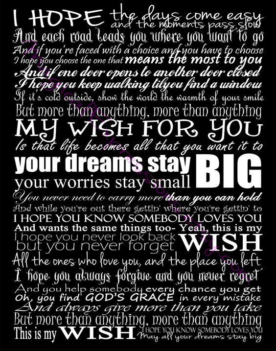 Rascal Flatts My Wish Typography Song Lyric Art Print 11 ...