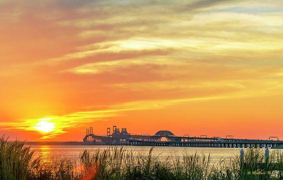 Chesapeake Bay Bridge Sunset Photograph by Brian Wallace