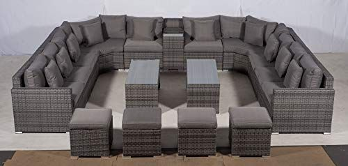 Giardino Santorini Large 10 Seater Grey Rattan Sofa Set 2 Coffee Tables 4 Sto Rattan Furniture Set Rattan Outdoor Furniture Garden Sofa Set