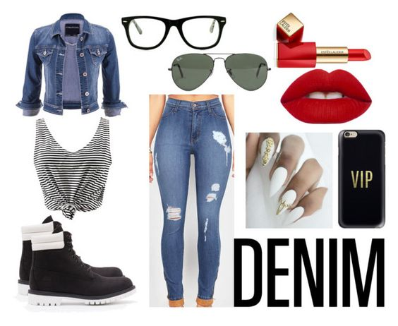"""""""denim on denim"""" by asmaamuhammad ❤ liked on Polyvore featuring maurices, Casetify, Muse, Ray-Ban, Lime Crime, Estée Lauder and Timberland"""