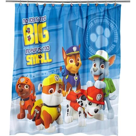 Shower Curtains christmas shower curtains walmart : Nickelodeon Paw Patrol Rescue Crew Fabric Shower Curtain | Paw ...