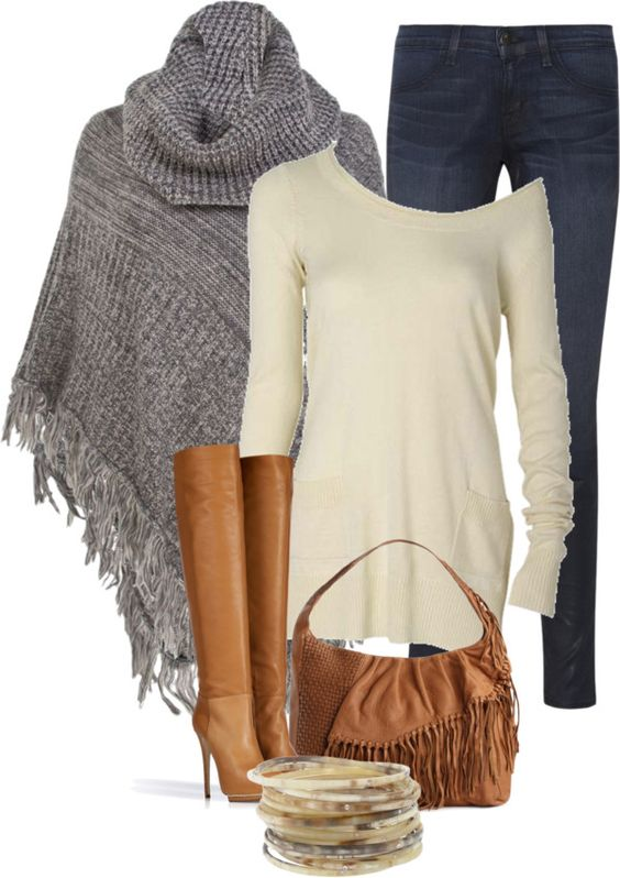 """Slate Poncho"" by melindatg on Polyvore:"