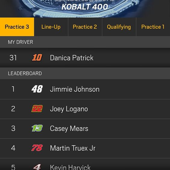 """""""Danica was 31th in final practice race tomorrow Danica is starting 21st lets go Danica #danicapatrick #10 #nascar #sprintcup"""""""