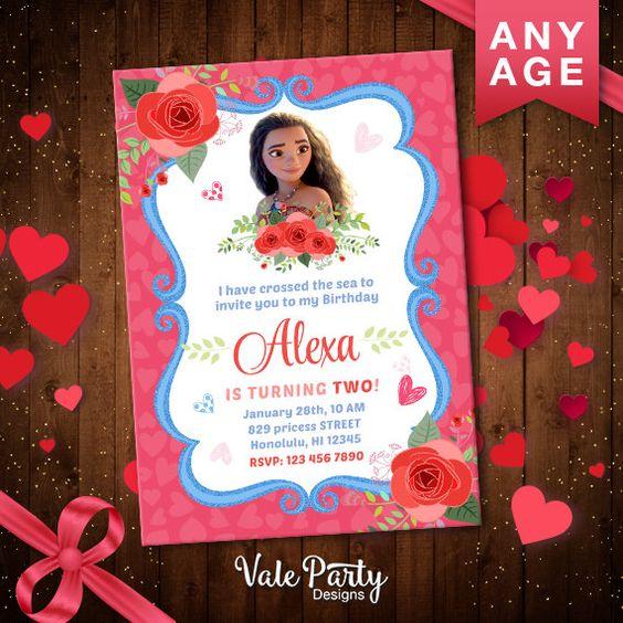 Heartwarming disney moana printable valentines cards for for Printable moana invitations