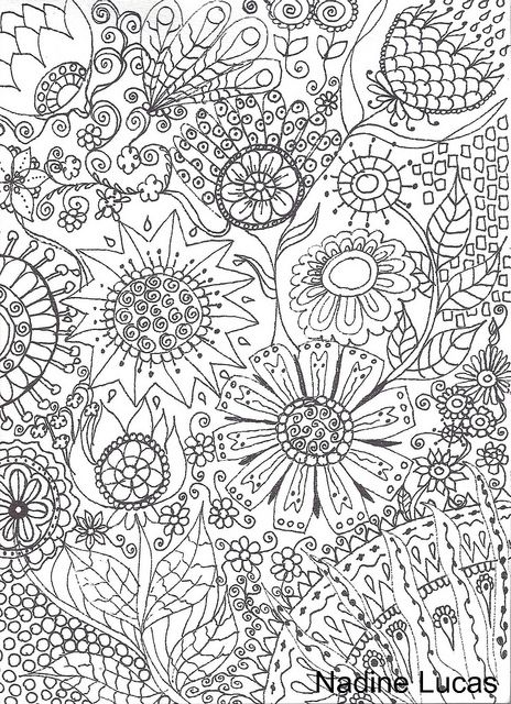 Flower Abstract Doodle Coloring Pages Colouring Adult Detailed Advanced Printable Kleuren Voor