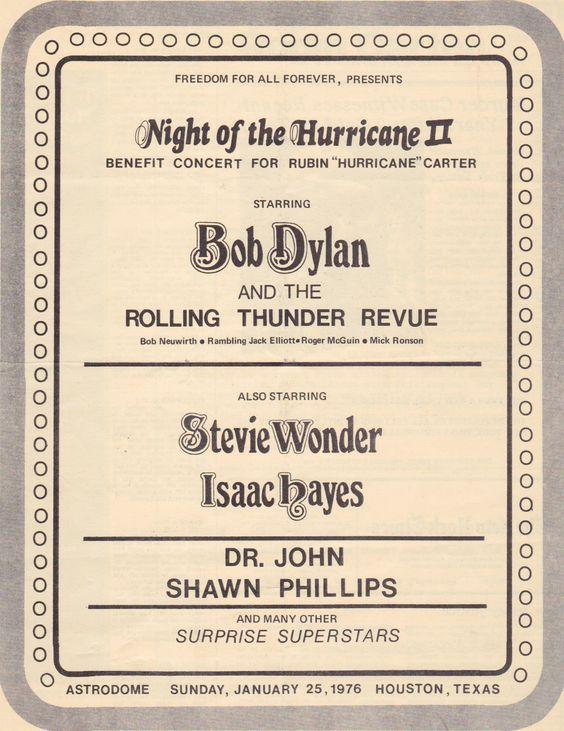 Bob Dylan  Night Of The Hurricane Ii Concert Program Houston