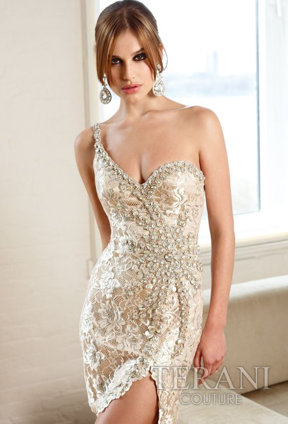 11075C One shoulder cocktail dress with lace and crystal detail ...