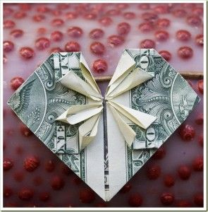 Origami heart with bow