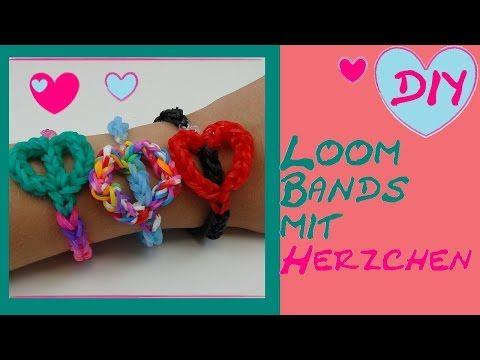 DIY Loom Band mit Herzchen/ nur mit Häkelnadel ohne Loom Board/ Anleitung deutsch - YouTube