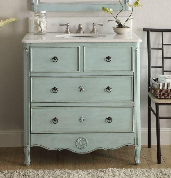 "34"" Benton Collection Distress Light Blue Daleville Bathroom Sink Vani – The Benton Collection"