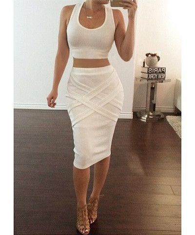 Copy of Sexy U-Neck Sleeveless Tank Top + Solid Color Bandage Skirt Women's Twinset Dispatch: Ships within 3 business days FREE SHIPPING
