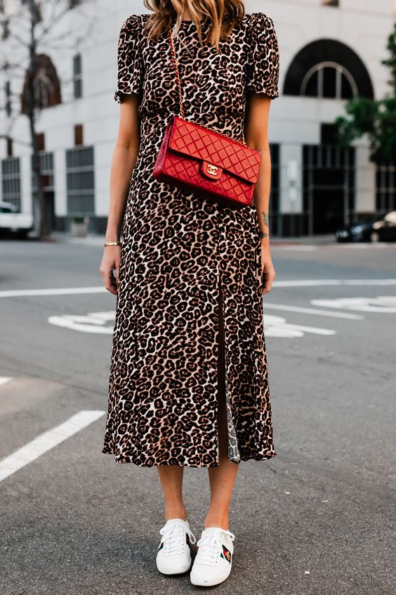 Fashion Jackson Wearing Leopard Maxi Dress Red Chanel Handbag Gucci Ace Embroidered Sneakers