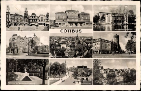 Ansichtskarte / Postkarte Cottbus Brandenburg, Markt, Theater, Bahnhof, Turm, Brücke, Denkmal, Dieselkraftwerk