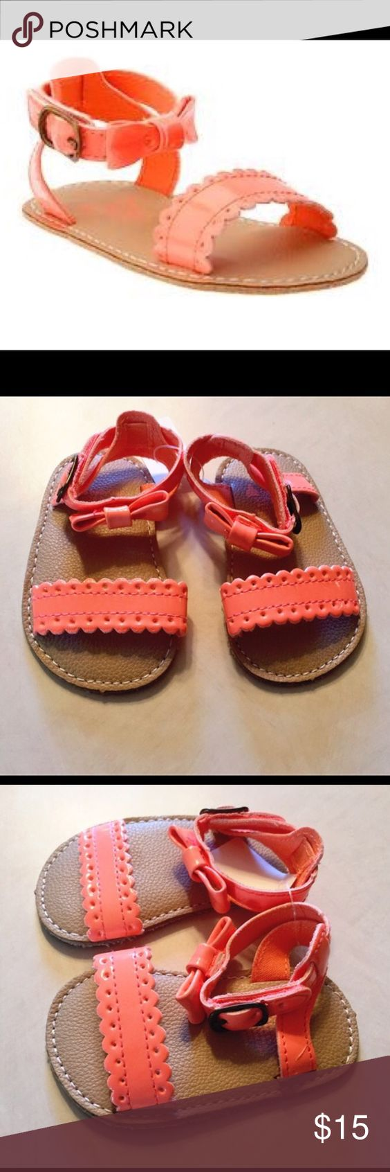 Baby Gap Orange Scallop Sandals Gorgeous orange coral baby gap scallop scandals with ankle bow size 0-3 months brand new with tags Baby Gap Shoes Baby & Walker