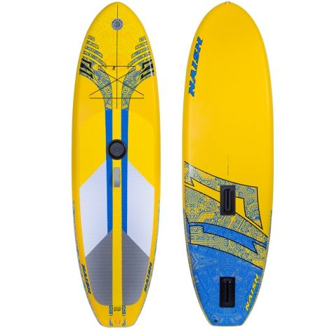 Naish Crossover Air 9.10 2017 The Crossover Inflatables are incredibly versatile inflatable boards for both windsurfing and stand up paddling. They feature an M8 universal insert for attaching a windsurfing rig and offer outstanding sailing performance in light to moderate wind conditions. They also have a slide-in dagger fin for upwind performance regardless of wind strength.