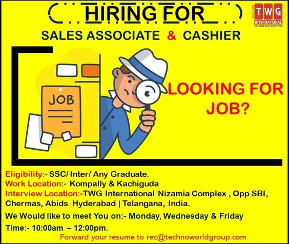 Twg International Hiring For Salesassociate Cashier Job Location