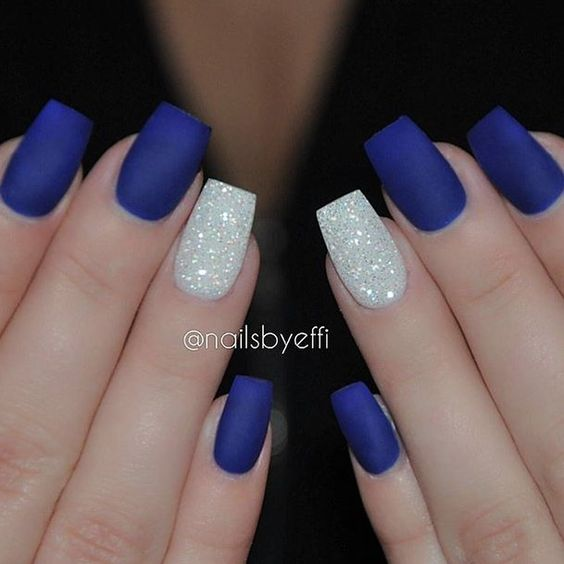 Matte blue with diamond by @NailsByEffi