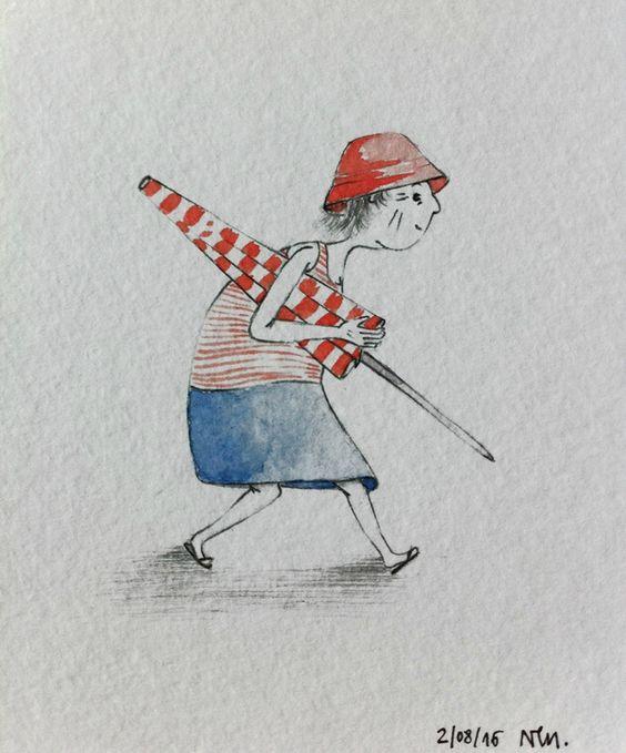 Où est Charlie ! Carte postale de vacances aquarelle / watercolor