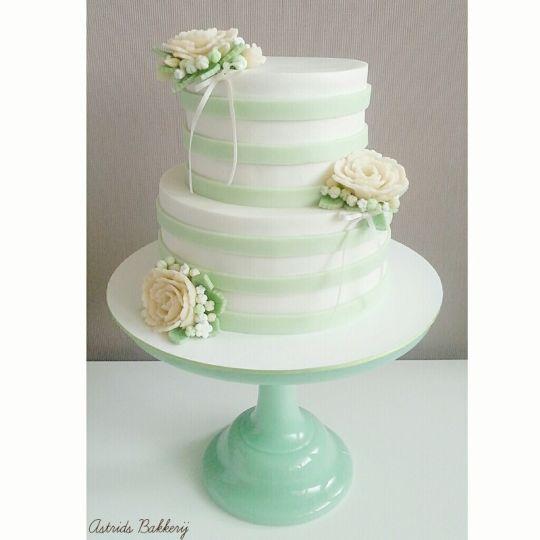 mint/peach/white weddingcake