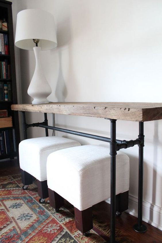 NARROW SOFA TABLE - Using black pipe from The Home Depot.  (Bring a pic to your plumbing associate. For a Rustic look on your Industrial table, ask the Lumber associate to let you see the scraps bin.)