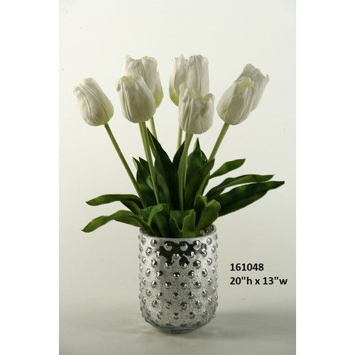 Found it at Wayfair - White Natural Touch Tulips in Silver Glass Vase