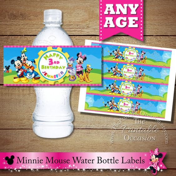 Personalized Clubhouse Water Bottle Label, Printable Water Bottle Labels, Mickey Mouse, Minnie Mouse, Daisy Duck, Daffy Duck, Goofy