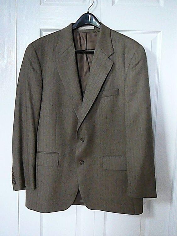 Lauren Ralph Lauren Men's Black/Tan Classic-Fit Jacket 42 R 100% Wool #ChapsRalphLauren #TwoButton
