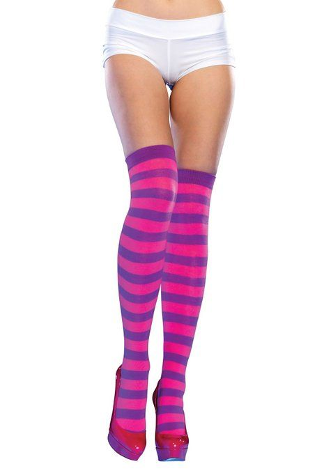 Pink And Purple Striped Leggings - Trendy Clothes