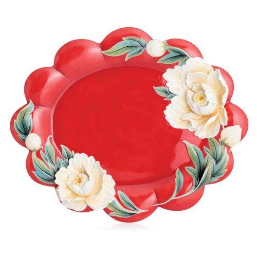 Franz Porcelain Collection ''Venice'' Peony Design Sculptured Porcelain Large Tray