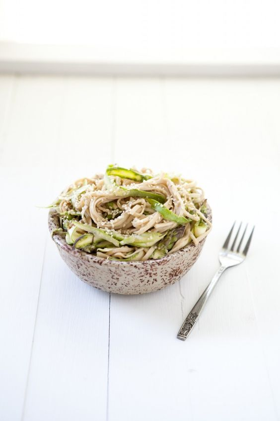 Shaved Asparagus and Noodles with Tahini Sauce