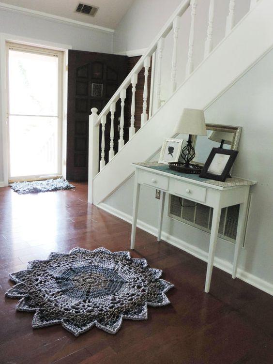 Chunky Crochet doily rug Lace Carpet Striped area by EvaVillain