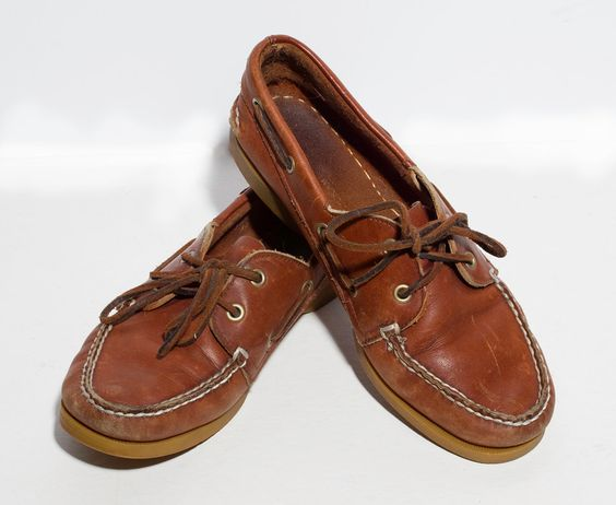 VTG 90's Honey Brown Leather Boat Shoes Womens size 7 1/2 Sperry ...