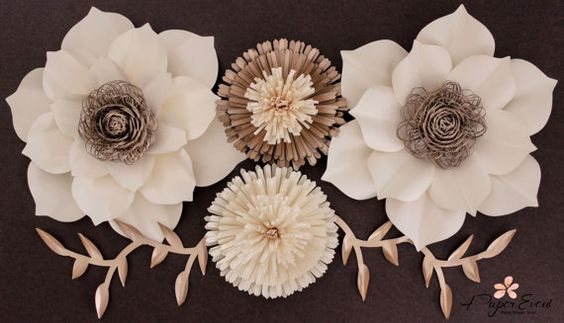 Paper Flower Backdrop Large Paper Flowers Wedding by APaperEvent