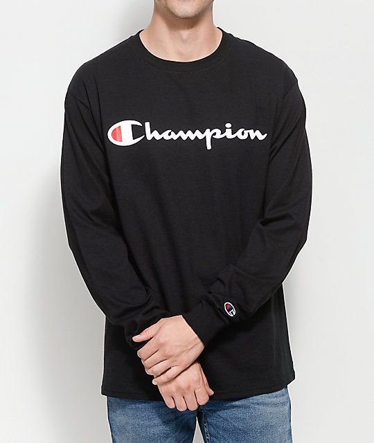 New Mens Champion Black Heritage Signature Chest Logo Long