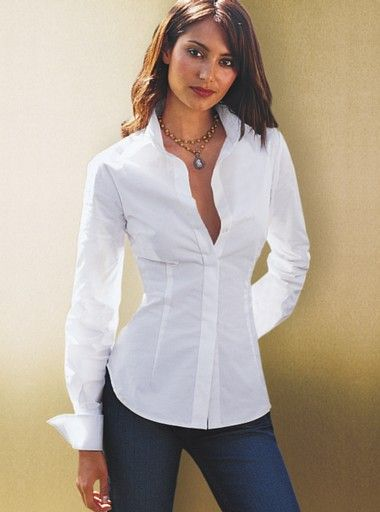White Fitted Ladies Shirt