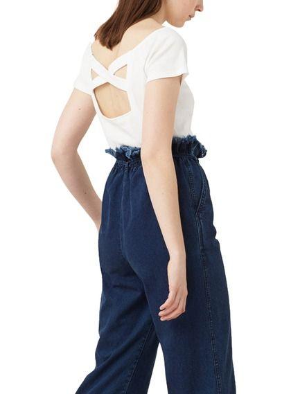 Tee-shirt décolleté dos en coton Blanc by MANGO 12.99