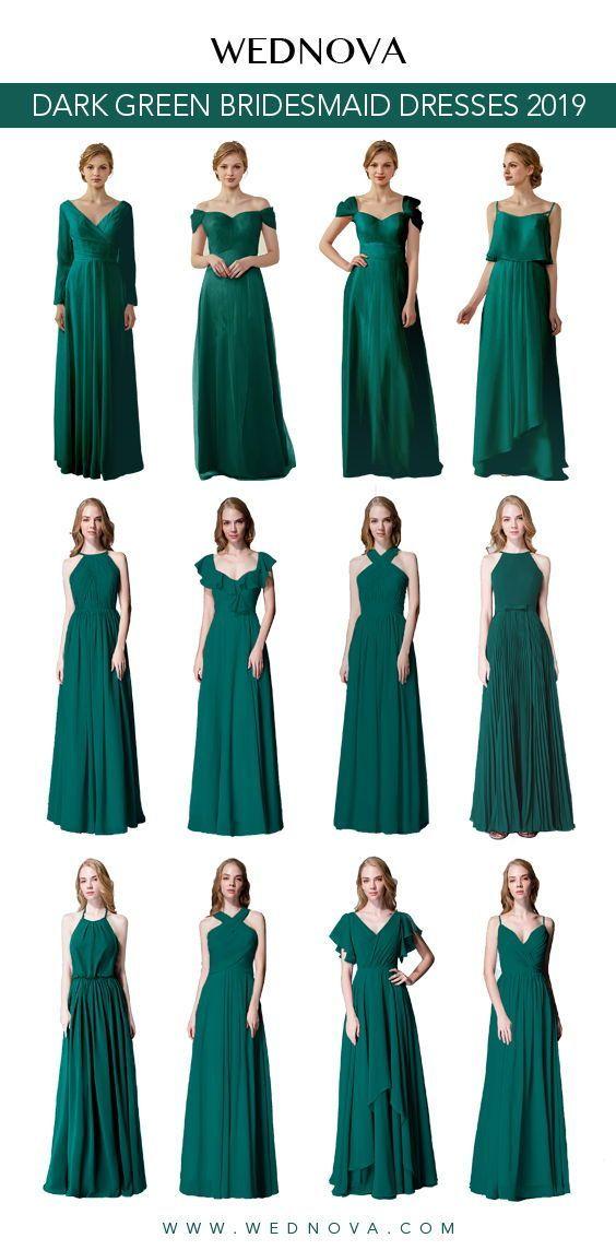 Dark Green Bridemaid Dress Cold Shoulder Dress Long Flutter Dress Chiffon For Summer Bridesmaid Dresses Green Bridesmaid Dress Summer Green Bridesmaid Dresses