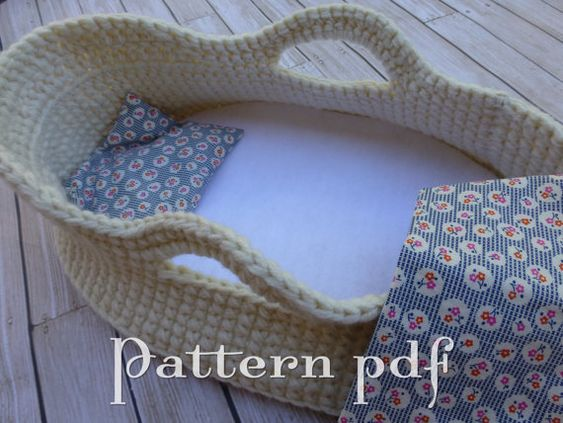 Knitting Pattern For Dolls Moses Basket : PDF Pattern - Crocheted Doll Moses Basket Patterns ...