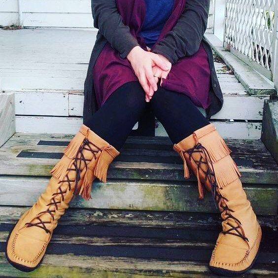 Moccasins are one of the most comfortable shoes you can own yet they can also be used to make a fashion statement #bebold #makeastatement #wearitloveit #moccasins #mukluks #madeincanada