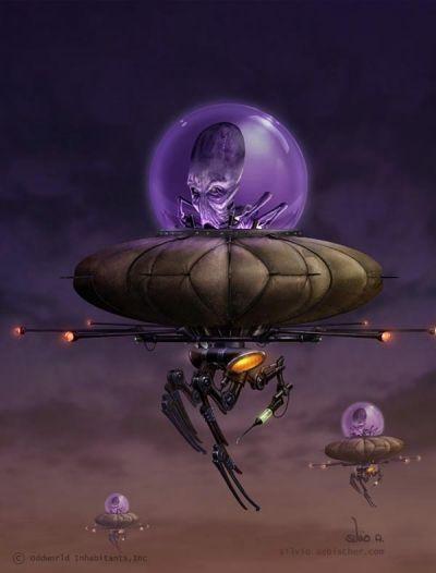 Sci Fi Art, Harvester blimp, alien