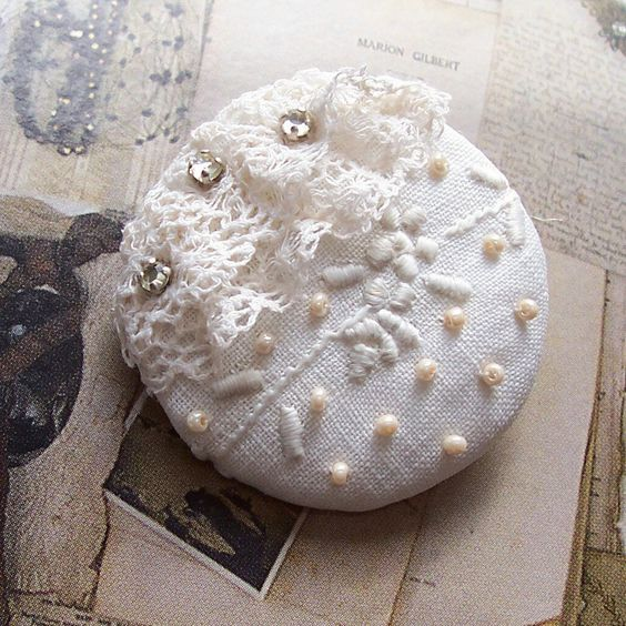 Vintage Lace Button ... ivory ... embroidery, lace, rose montees, Czech seed pearls, 21302.