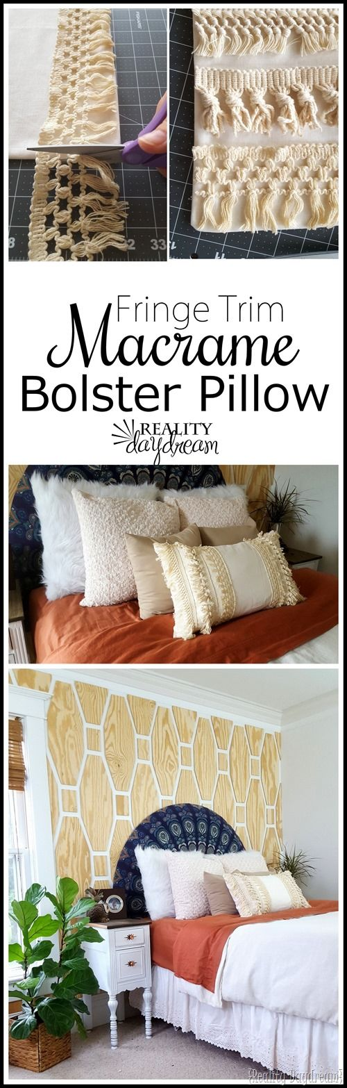 Macrame Fringe Pillow Cover Tutorial Using Tassel Trim: sew bolster pillow cover